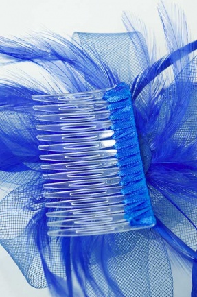 Royal Blue Crinoline Bow Comb Fascinator Blue Hair